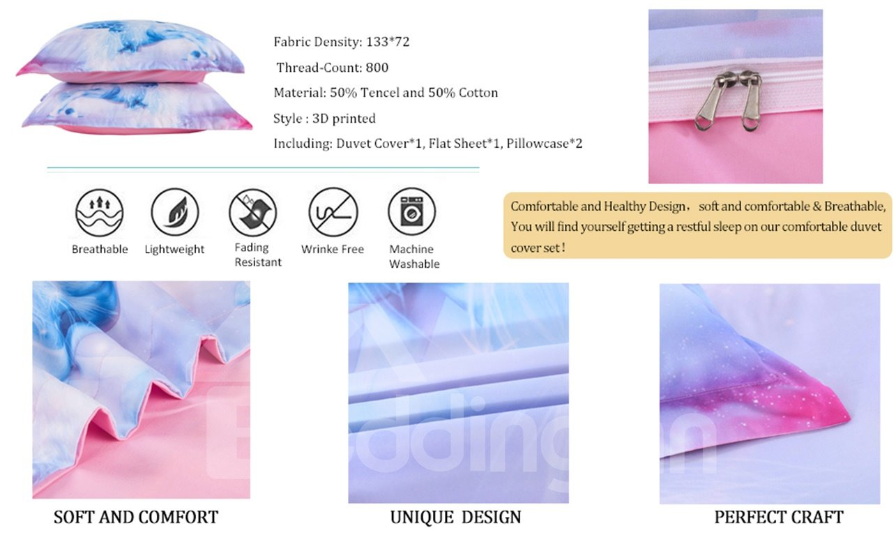 Onlwe 3D White Unicorn with Wings Printed 4-Piece Bedding Sets/Duvet Covers