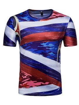 Striped Round Neck Men Short Sleeve 3D T-Shirt