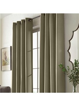 Concise Pure Colored Thin Box Pattern 2 Panel Home Decoration Grommet Top Curtain