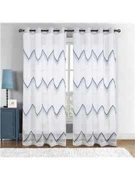 Natural Style Embroidered Wave Pattern Blue Custom Sheer Curtain