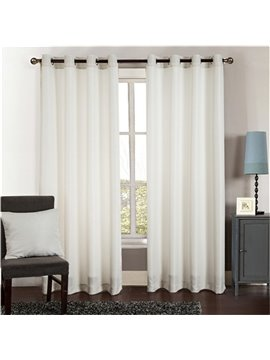 Simple Style Pure Colored Pinstripe 2 Panels Living Room and Bedroom Grommet Top Curtain