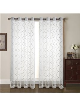 Soft and Cozy White Checkerboard Pattern Embroidered 2 Panels Living Room Sheer Curtain