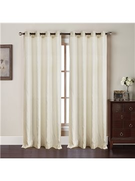 Concise and Fresh Style Pure Color Sunlight Shading Polyester Living Room Blackout Curtain Set
