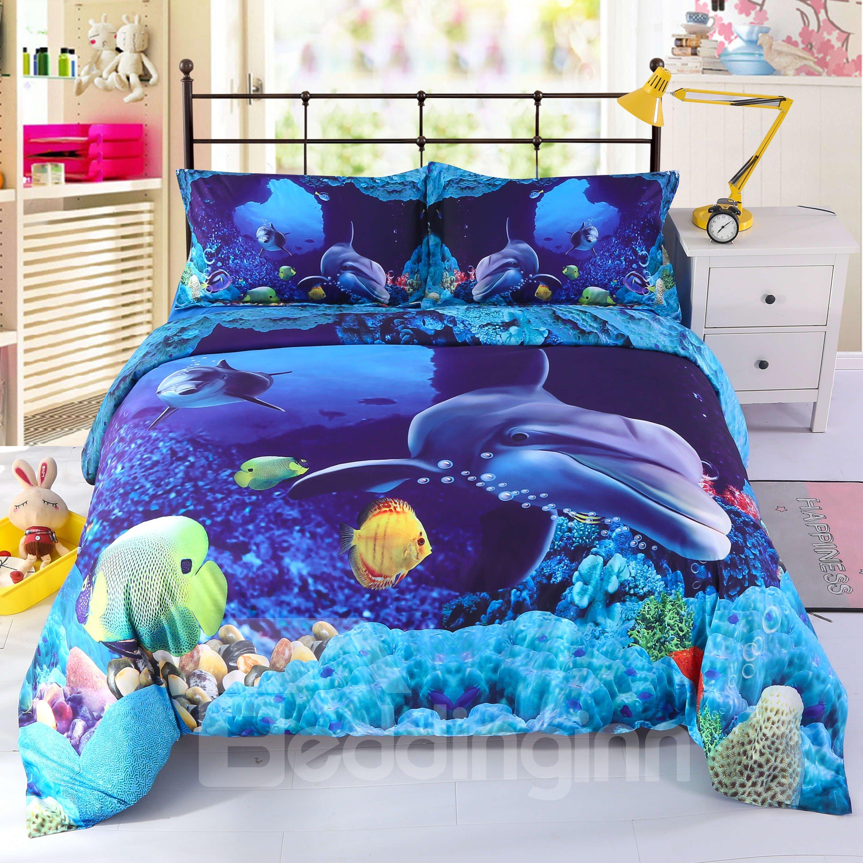 Vivilinen 3D Colorful Fish in Deep Blue Ocean Printed 4-Piece Bedding Sets/Duvet Covers