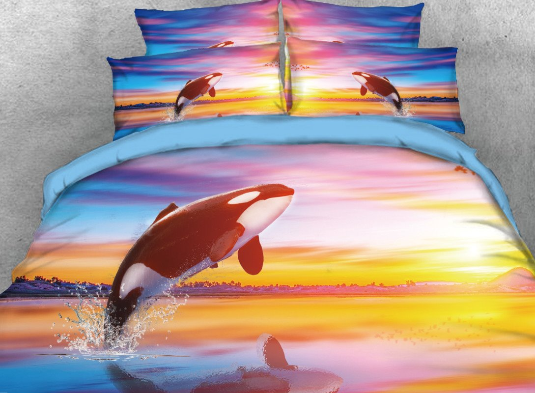 Vivilinen Jumping Orcinus Orca Printed 4-Piece 3D Bedding Sets/Duvet Covers
