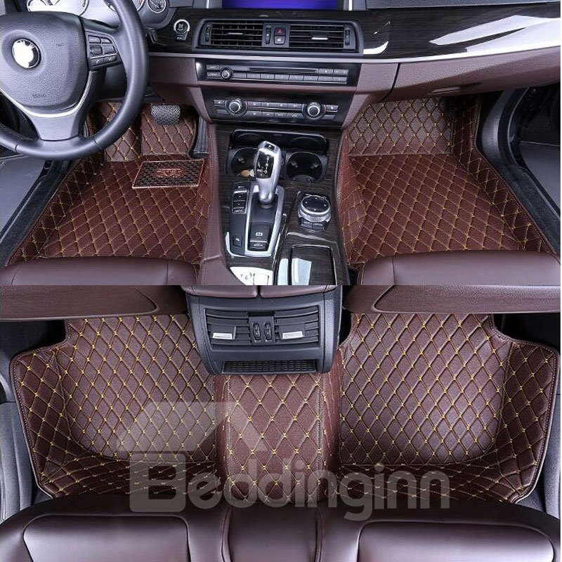 Custom Fit Flooring: Pure Color Firm Leather Waterproof Custom Fit Car Floor