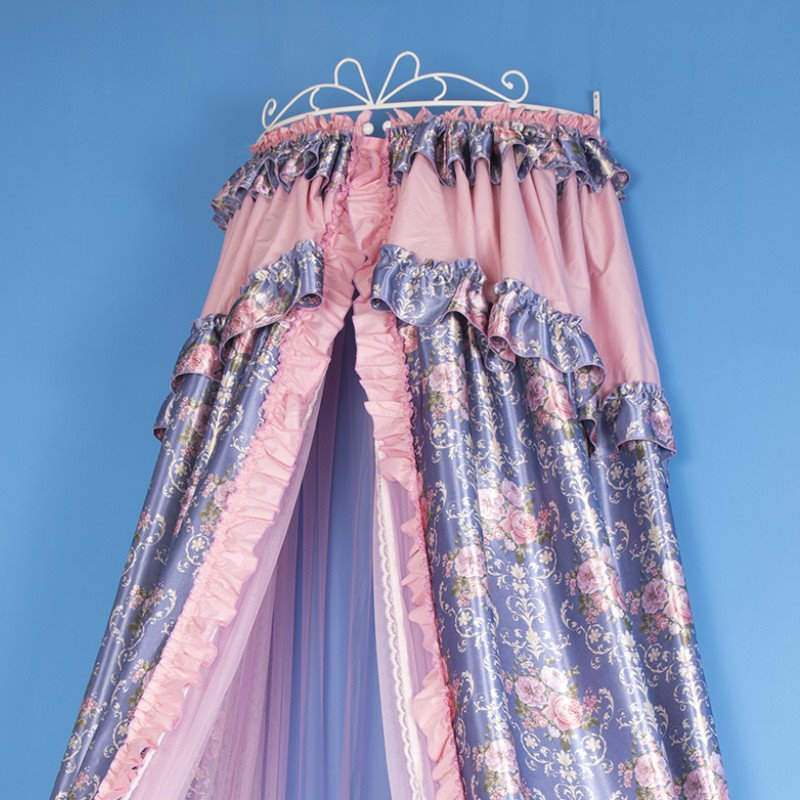 Dark Blue and Pink Flower Hanging Bed Nets/Canopy