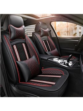 PU Material Stripe Patterns All Seasons Stripe Universal Fit Car Seat Covers