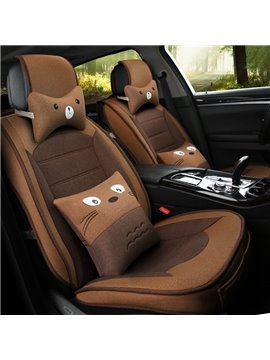 Linen Material Cartoon Patterns All Seasons Five Seats Universal Car Seat Covers