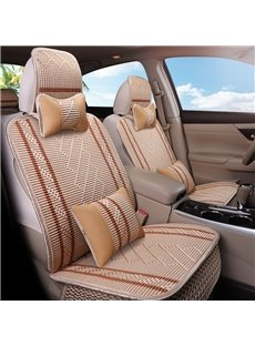 Linen Material Stripe Pattern Simple Style Universal Car Seat Cover