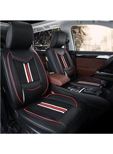 Classic Black Red Pattern PU mixed Flax Material Front Single-seat Universal Car Seat Covers