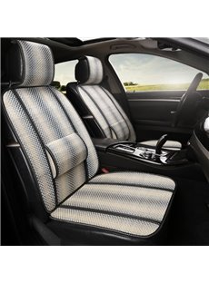 Stripe Pattern Flax Cool Simple Design Front Single-seat Universal Car Seat Covers
