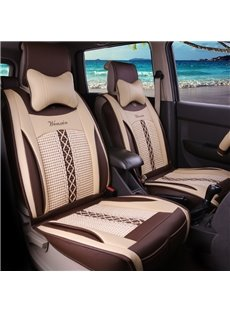 Natrual Beige Leather&Net Cloth Front Single-seat Universal Car Seat Covers