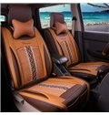 Natrual Beige Leather&Net Cloth Front Single-seat Universal Car Seat Cover