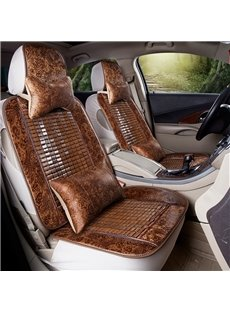 Cool Leather&Ice Wood Simple Design Front Single-seat Universal Car Seat Covers