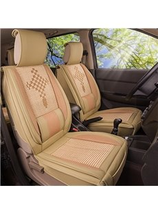 Refreshing Flax Chinese Knot Pattern Front Single-seat Universal Car Seat Covers