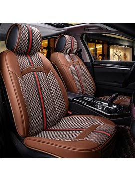 Gingham Fabrics Green&Red Stripes Leather Universal Fit Car Seat Cover