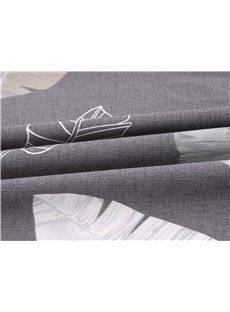 Grey Leaves Cotton 4-Piece Bedding Sets/Duvet Cover