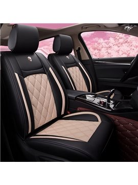 Car Seat Covers 5-Seater Romantic Retro Style PU Leather Color Block Design Stretchy Wear-Resisting Breathable Cute Universal Car Seat Covers Fit to  Auto Truck Van SUV