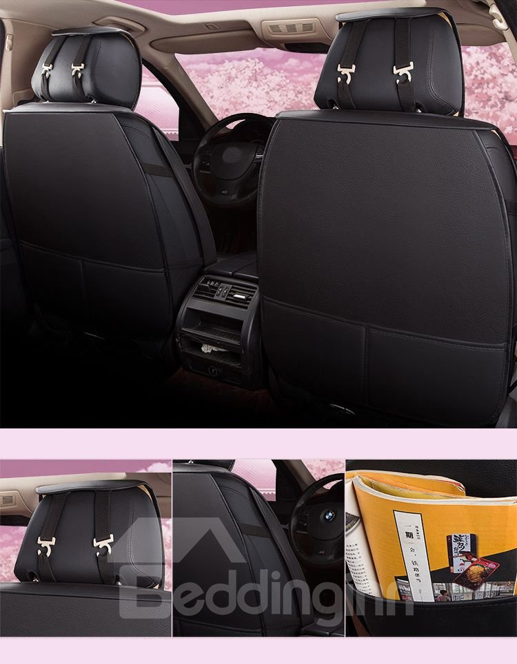 Romantic Feeling Stretchy Leather Color Block Wear-Resisting Breathable Design Universal Cute Car Seat Covers