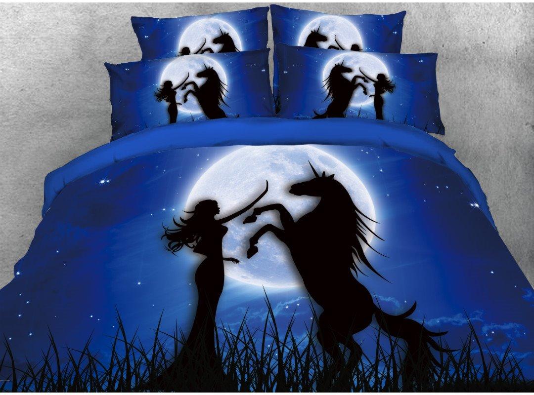 Vivilinen 3D Unicorn & Girl Printed Cotton 4-Piece Dark Blue Bedding Sets/Duvet Covers