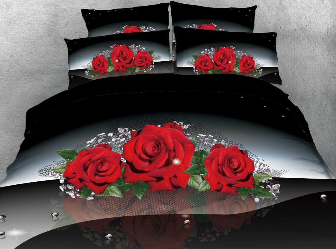 Onlwe 3D Red Rose with Green Leaves Printed 4-Piece Bedding Sets/Duvet Covers beddinginn