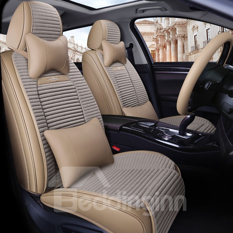 Double Layer Fabric Pure Color Soft Universal Leather Car Seat Covers