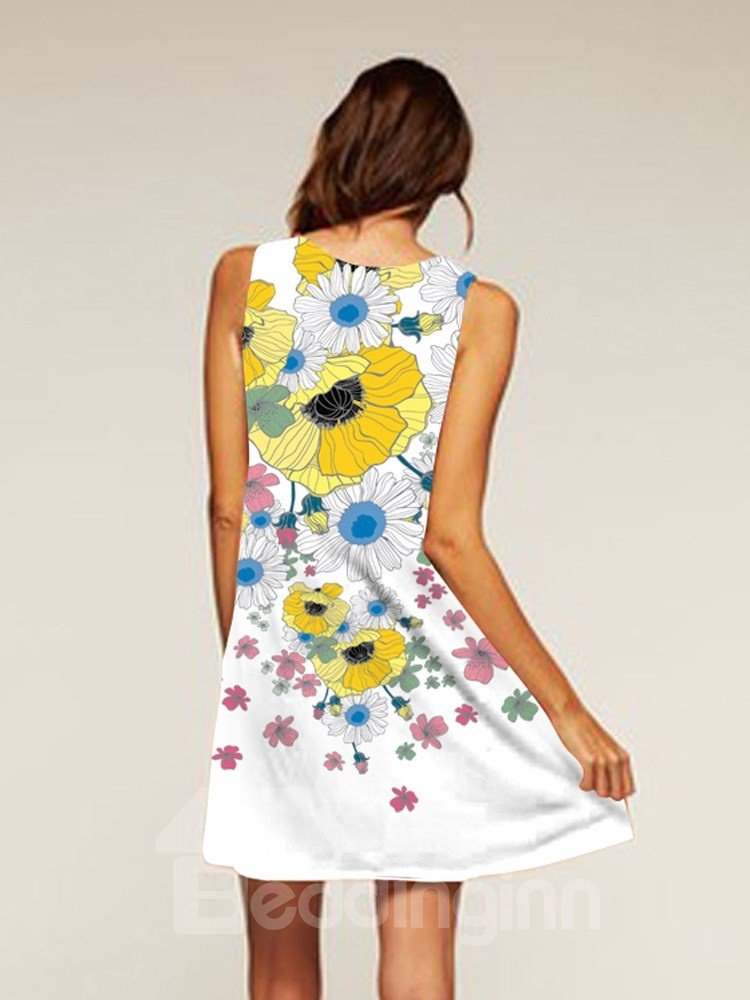 Flowers Pattern Polyester Style Sleeveless Style Dress for Women
