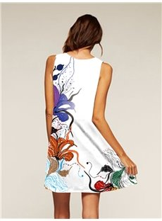 Flowers Pattern Sleeveless Style Multicolor Dress for Women