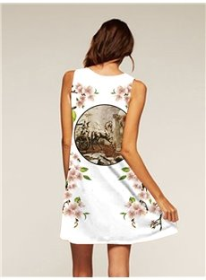 Above Knee Length Flowers Pattern Sleeveless Style Dress for Women