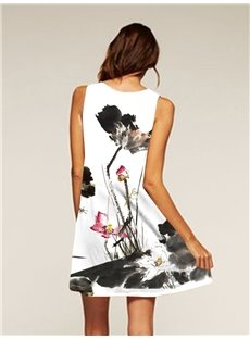 Flowers Pattern Sleeveless Style Polyester Material Dress for Women