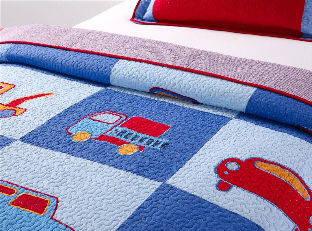Truck Patchwork Pattern 2 Pieces Blue Cotton Duvet Cover Sets