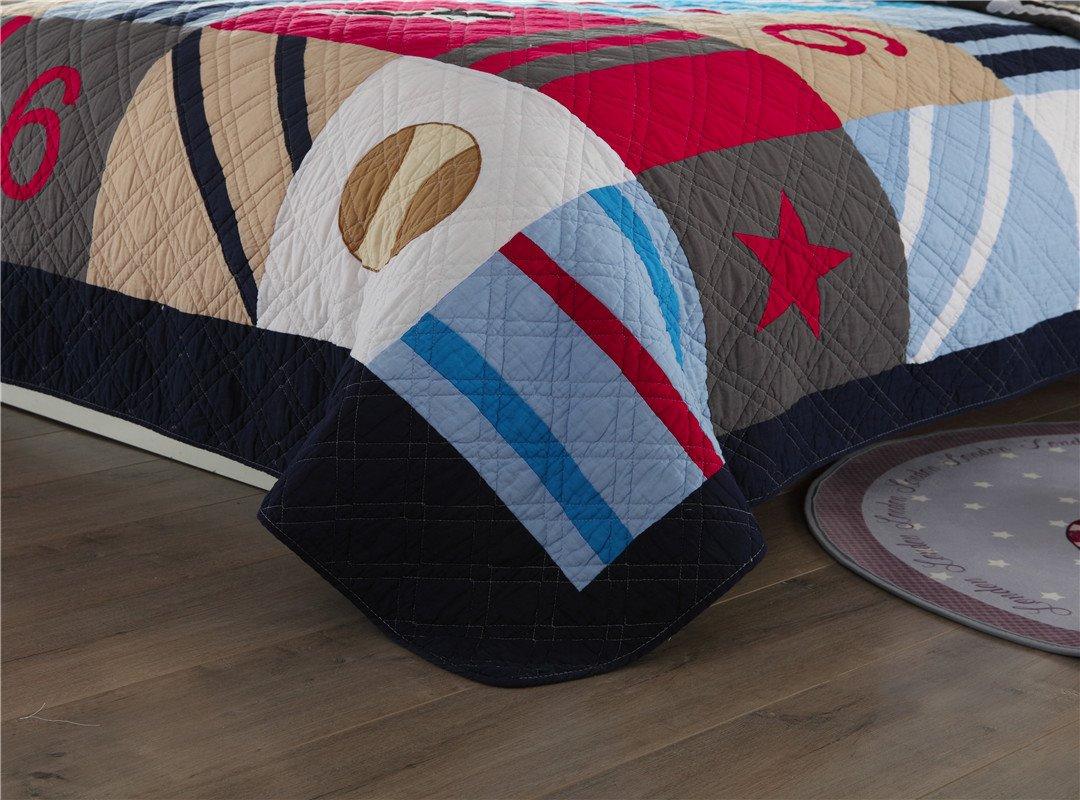 British Style Baseball Patchwork Pattern 2 Pieces Cotton Duvet Cover Sets