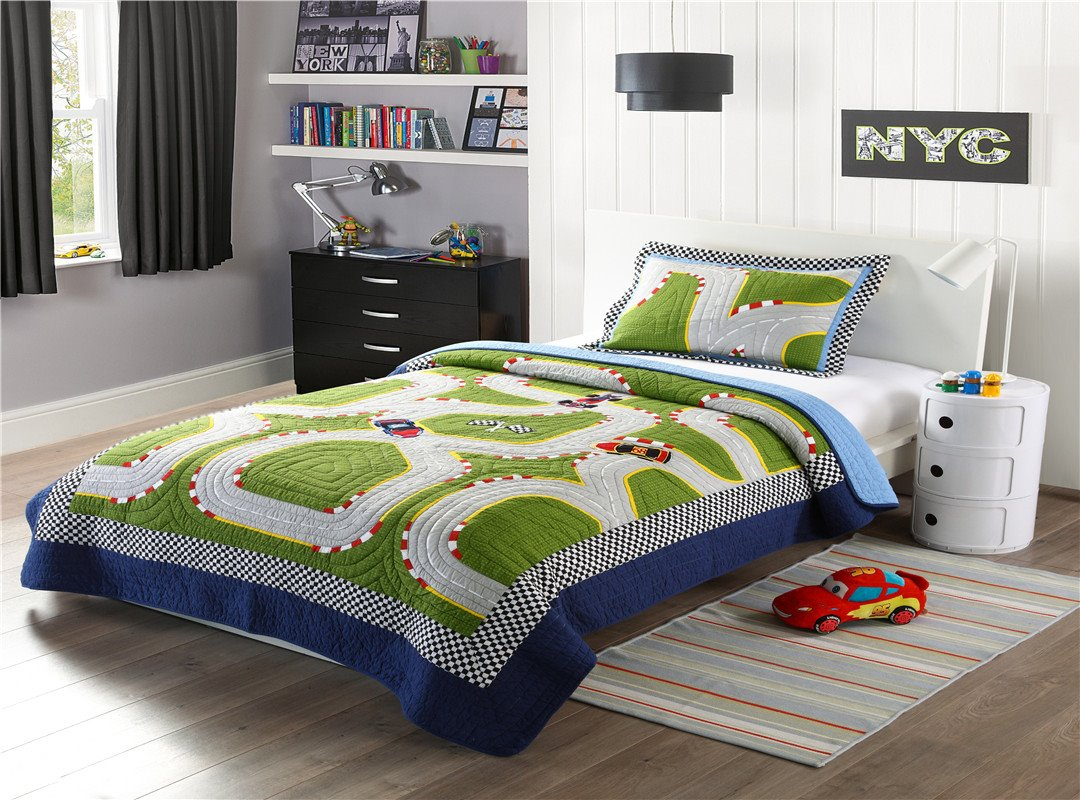 Racing Track Patchwork Pattern 2 Pieces Green Cotton Duvet Cover Sets
