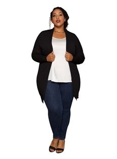 Loose Model Mid-length Cardigan Type Plain Pattern Plus Size Duster