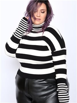 Slim Model High Elasticity Pullover Type Standard Length Plus Size Striped Cropped Sweater