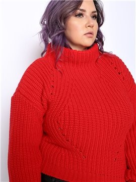 Plain Pattern Acrylic Material Turtleneck Pullover Type Plus Size Red Cropped Sweater