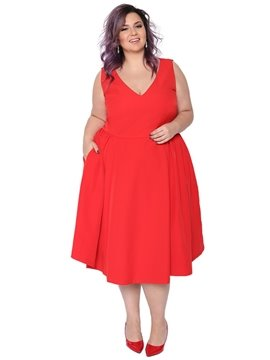 A-Line Silhouette Plain Pattern Sleeveless Plus Size Red Dress