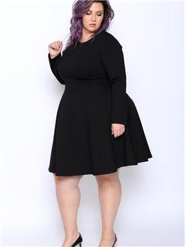 Long Sleeve Length Viscose Fiber Material Zipper Closure Plus Size Dress