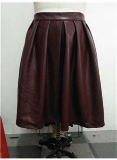 A-Line Silhouette Mid-Calf Length Standard Waist Plain Pattern Plus Size Leather Skirt