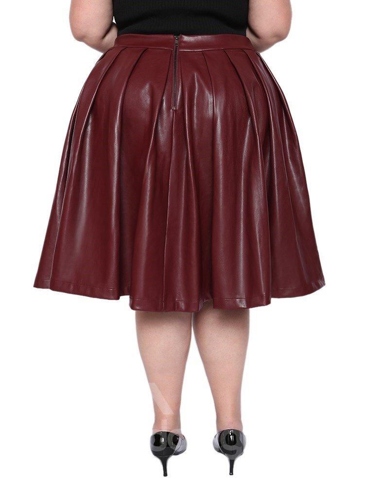 A-Line Silhouette Mid-Calf Length Standard Waist Plain Pattern Plus Size Leather Skirt