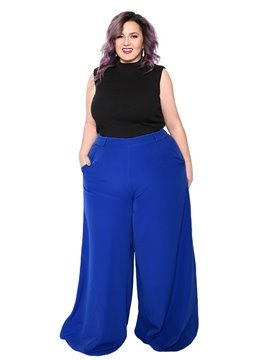 Western Style Plain Pattern Full Length Plus Size Palazzo Pants