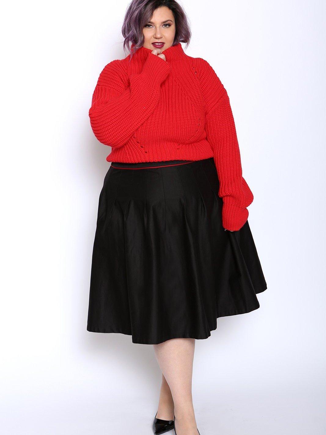 Plain Pattern A-line Silhouette Mid-Calf Length Plus Size Mini Skirt ...