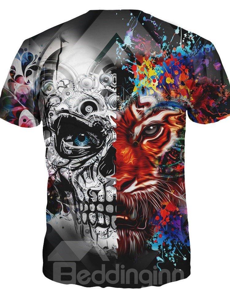 Animals Pattern European Style Round Neck 3D T-shirt