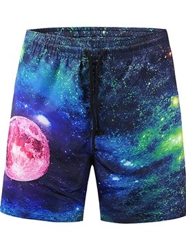 Galaxy Pattern Polyester Material Loose Model 3D Beach Shorts