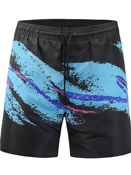 Blue Wave Pattern Polyester Material Loose Model 3D Beach Shorts