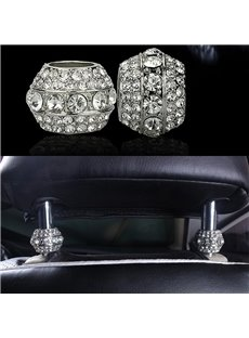 2Pieces Sparkle Icy Crystal Noble Car Pillow Holder Decoration