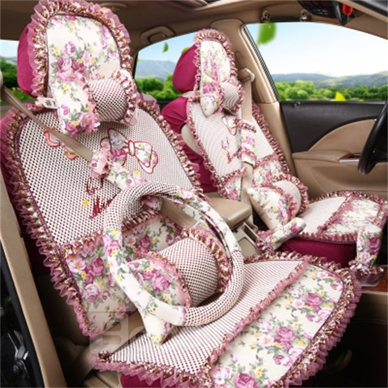 Princess Style Girly Linen Material Universal Car Seat Covers