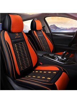 3D Design Wood Bead Backrest Universal Leather Car Seat Covers