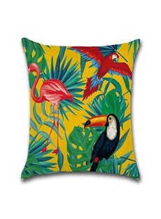 Reactive Printing Technics Plant Pattern Linen Material Pillow Case